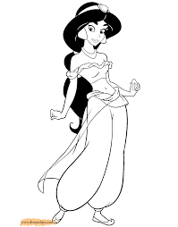 Jasmine Coloring Pages Aladdin 2 Disney Book Picture Page
