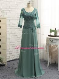 Green Scalloped Neckline Lace And Appliques Ruching Mother Of Groom Dress Long Sleeves Zipper