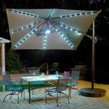 Solar Lighted Patio Umbrella by Island Umbrella Santorini Ii Fiesta 10 Ft Square Cantilever Patio