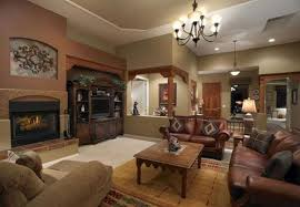 Living Room Rustic For Cosy Night Brown Leather Couch Set White Armchair Accent Wooden Coffee Table