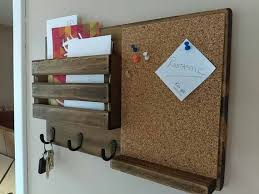 Corkboard Mail Organizer Holder Rustic Key Personalized Option Available