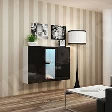 hängeschrank bruno kommode wohnzimmer vitrin mit glas led