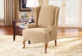 Stretch Piqué One Piece Wing Chair Slipcover | Form Fit | Machine Washable