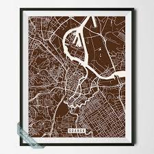 GDANSK POLAND STREET MAP PRINT By Voca Prints Modern Street Map Art Poster With