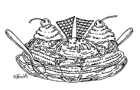 Ice Cream Sundae Coloring Page With