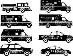100 Black Fire Truck Set Of Different Silhouettes Police And Ambulance Cars