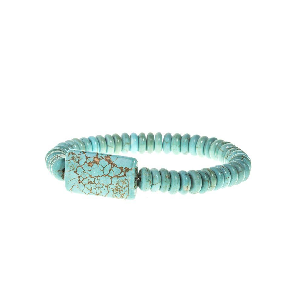Jwest and Company Women's J West Rectangular Bead Stretch Bracelet - Turquoise