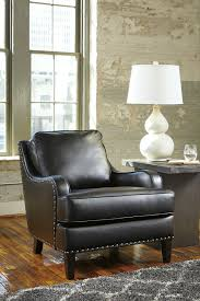 Ergonomically Correct Living Room Chair by Black Faux Leather Accent Chair With Nailhead Trim By Signature