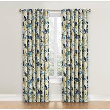 Waverly Fabric Curtain Panels by Shop Waverly Leaf Storm 84 In Indigo Cotton Back Tab Single