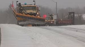 Snowplows And Salt Trucks In Toronto Snowstorm Stock Video Footage ...