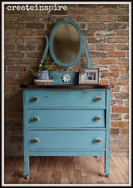 Tiger Oak Serpentine Dresser by Createinspire Vintage Dresser In Peacock Plume