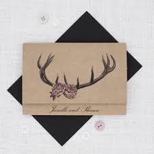 Deer Antlers With Roses Rustic Wedding Invitation