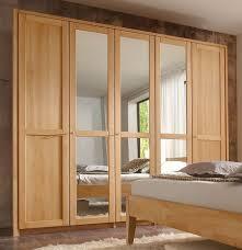 5trg kleiderschrank mit 3 spiegeltüren 237x216x61 cm buche massiv geölt casade mobila
