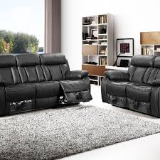 Black Vancouver 3 2 Seater Leather Sofas