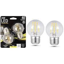 feit electric 45w 40w led g16 1 2 light bulb e26 base 2 pack