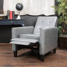 deana dark grey tufted leather club chair recliner great deal