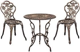 casa pro gartentisch bistro tisch 60cm rund bronze mit 2 stühlen französische gartenmöbel im antik look für balkon terrasse bistro set
