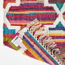 handgewebter kelim teppich amsterdam mit geometrischem muster aus 100 baumwolle bunt