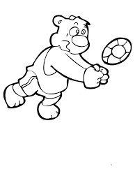 A Bear Playing Volleyball Coloring Page