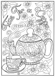 Teapot Doodle Colouring Page Adult