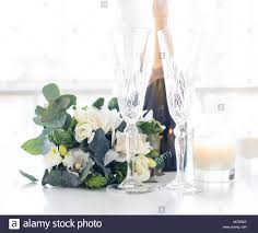 100 Elegant Decor Beautiful Wedding Decoration With Champagne And White Flowers Stock