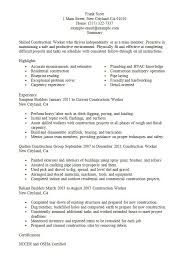 Sample Of A Construction Worker Resume Creative