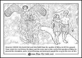 Adam And Eve Expelled From The Garden Of Eden Colouring Page