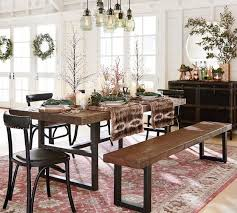 Farmhouse Dining Room Sets With Bench Griffin Reclaimed Wood Fixed Table Of