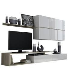 wohnwand goya tv lowboard hängeschrank wandregal design mediawand modernes wohnzimmer set anbauwand komplatt weiß weiß hochglanz eiche