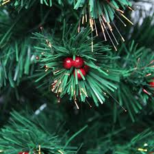 3 Pre Lit Color Changing Fiber Optic Christmas Tree With Red Berries