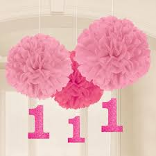 1st Birthday Anniversary Paper Pom Decoration 3pcs
