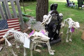 Skeleton Animals And A Tomb Stone Halloween Decorations From The Home Depot