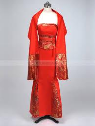red satin mermaid cheongsam with chinese knot and shawl