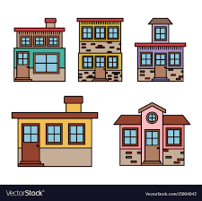 100 Townhouse Facades Background With Colorful Set Of Houses Facades