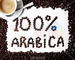 Border And Words Spelling 100 Percent Arabica Made With Coffee Beans Cup Of