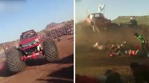 Shocking Head-on Footage Shows Moment Monster Truck Loses Control ... Best Of Monster Truck Grave Digger Jumps Crashes Accident Truck Crash Mirror Online First Successful Front Flip In A Was The Most Fun Kills Two Netherlands Youtube Accident Archives Biser3a 100 Toys Pax East 2016 Overwatch Monster Got Into A Car More Than Dozen Killed After Train In South Africa Sky Jam 2014 Avenger Crashrollover At Least 2 Killed Fiery Crash Fox Lake Cbs Chicago