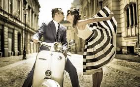 Vintage Scooter Vespa Street Boy Girl Kiss Love