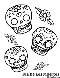 Coloring Pages Day Of The Dead Free Sheets Printable Skulls