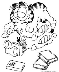 Garfield Color Page Cartoon Characters Coloring Pages Plate Sheetprintable