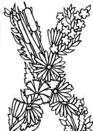 X Letter Ribbon Flower Shape Learning Alphabet Coloring Pages