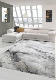 teppich modern wohnzimmer teppich marmor optik in grau gold größe 160x230 cm