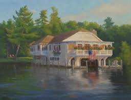 The Boathouse Bed And Breakfast Lake George Ny Painting by