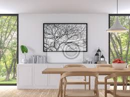 moderne weiße esszimmer 3d render bild es gibt holzboden es bilder myloview