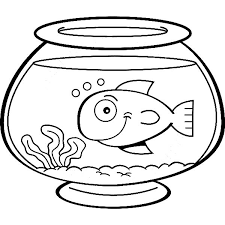 Fish Bowl Smiling In Coloring Page