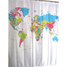 World Map Waterproof Anti mildew Polyester Bath Shower Curtain