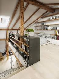 Stylish Attic Bedroom Design With Lots Of Book Storage