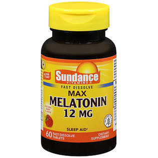 Sundance Melatonin Vitamin Tablets - 60ct, 12mg, Natural Berry Flavors