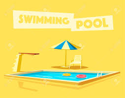 Swimming Pool With A Diving Board Cartoon Vector Illustration Sport And Recreation Jump