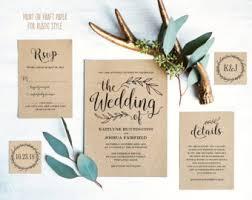 Vintage Wedding Invitation Suite Printable Template Rustic Cards DIY