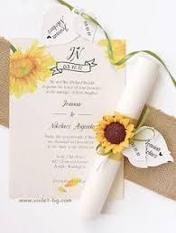 Yellow Sunflower Invitation Green Scroll Wedding